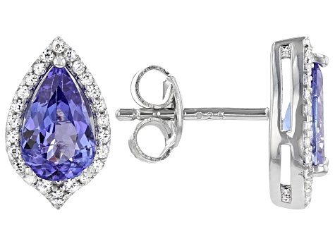 Blue Tanzanite Rhodium Over Silver Earrings 1.77ctw
