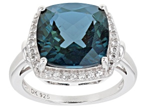 Blue Topaz Rhodium Over Silver Ring 7.30ctw
