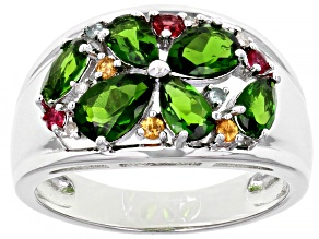 Green Chrome Diopside Rhodium Over Silver Ring 1.69ctw