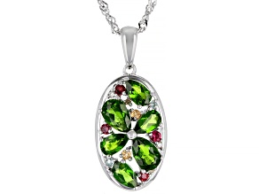 Green Chrome Diopside Rhodium Over Silver Pendant With Chain 1.69ctw