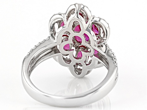 Red Lab Created Ruby Rhodium Over Silver Ring 2.11ctw