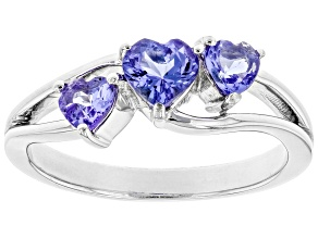 Blue Tanzanite Rhodium Over Sterling Silver 3-Stone Ring .75ctw