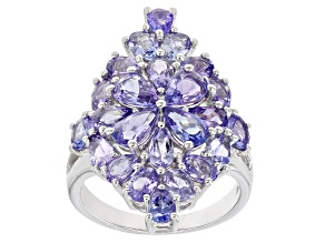 Blue Tanzanite Rhodium Over Sterling Silver Ring 4.90ctw