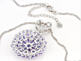 Blue Tanzanite Rhodium Over Sterling Silver Pendant with Chain 6.17ctw
