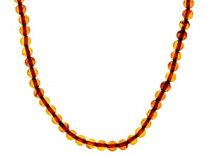 Orange amber rhodium over sterling silver necklace