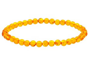 Orange amber bead stretch bracelet