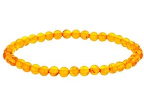 Orange amber bead stretch bracelet