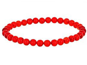 Red amber bead stretch bracelet