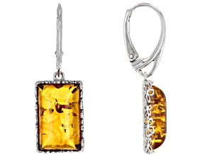 Orange amber rhodium over sterling silver earrings