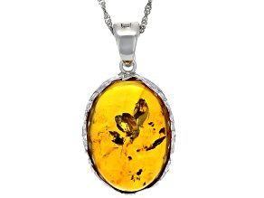 Orange amber rhodium over sterling silver pendant with chain