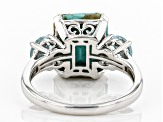 Blue Kingman Turquoise Rhodium Over Sterling Silver Ring .47ctw