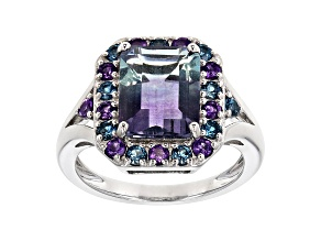 Bi-Color Fluorite Rhodium Over Sterling Silver Ring 3.66ctw
