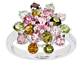 Multi-Color Tourmaline Rhodium Over Silver Ring 2.60ctw
