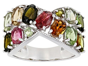 Multi-Color Tourmaline Rhodium Over Silver Ring 4.30ctw