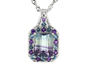 Bi-Color Fluorite Rhodium Over Sterling Silver Pendant with Chain 3.65ctw