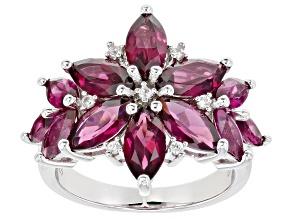 Purple Raspberry Color Rhodolite Rhodium Over Silver Ring 5.59ctw