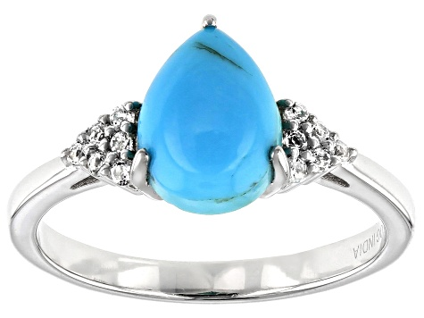 Blue Kingman Turquoise Rhodium Over Sterling Silver Ring .08ctw