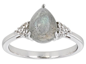 Gray Labradorite Rhodium Over Sterling Silver Ring .08ctw
