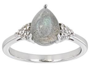Gray Labradorite Rhodium Over Sterling Silver Ring .08ctw