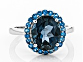 Blue Topaz Rhodium Over Silver Ring 4.11ctw