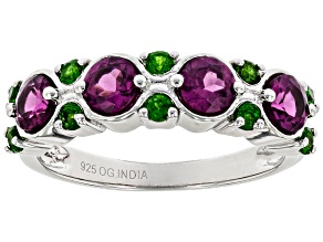 Purple Rhodolite Rhodium Over Sterling Silver Band Ring 1.55ctw