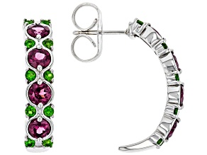 Purple Rhodolite Rhodium Over Sterling Silver J-Hoop Earrings 3.10ctw