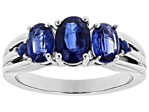 Blue Kyanite Rhodium Over Sterling Silver Ring 2.01ctw