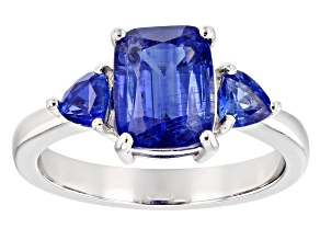 Blue Kyanite Rhodium Over Silver 3-Stone Ring 3.68ctw