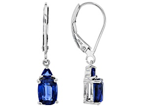 Blue Kyanite Rhodium Over Silver Earrings 2.50ctw