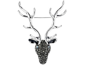 Swiss blue topaz sterling silver reindeer face brooch .03ctw