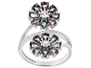 Multi-color quartz rhodium over silver bypass ring 2.21ctw