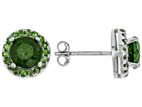 Green chrome diopside rhodium over silver stud earrings 1.94ctw
