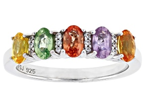 Mixed Color Sapphire Rhodium Over Sterling Silver Band Ring 1.54ctw
