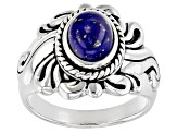 Blue lapis rhodium over sterling silver solitaire ring