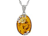 Orange Amber Rhodium Over Silver with 18k Gold Enhanced Sunflower Detail Pendant with Chain