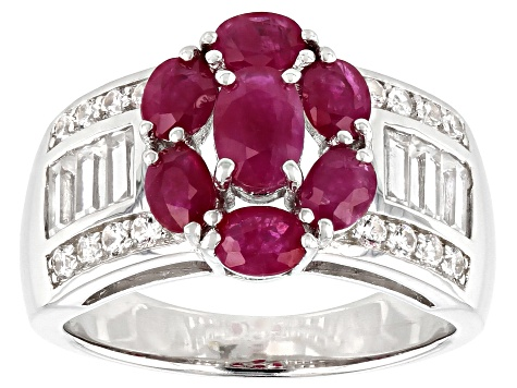 Red Ruby Rhodium Over Silver Ring 2.51ctw