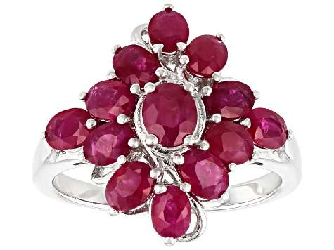 Red ruby rhodium over sterling silver ring 2.82ctw