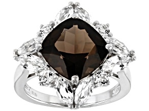 Brown smoky quartz rhodium over sterling silver ring 6.77ctw