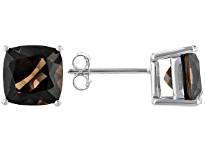 Brown smoky quartz rhodium over sterling silver stud earrings 3.46ctw