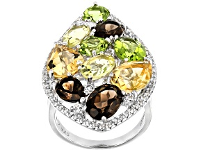 Multi-Gemstone Rhodium Over Sterling Silver Ring 10.15ctw