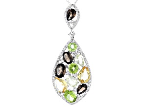 Multi-Gemstone Rhodium Over Sterling Silver Pendant with Chain 11.21ctw