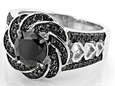 Black Spinel Rhodium Over Sterling Silver Ring 2.15ctw
