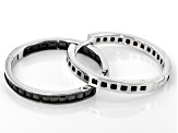 Black Spinel Rhodium Over Sterling Silver Hoop Earrings 3.00ctw