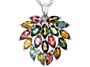Multi-Color Tourmaline Rhodium Over Silver Pendant With Chain 3.40ctw