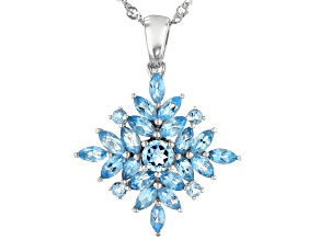 Blue Swiss Topaz Rhodium Over Silver Pendant With Chain 2.11ctw
