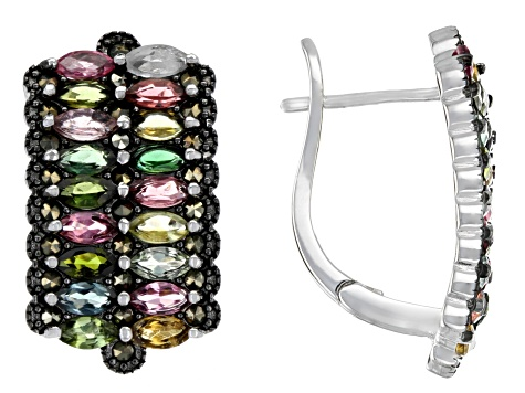 Multi-Color Tourmaline Rhodium Over Silver Earrings 2.14ctw