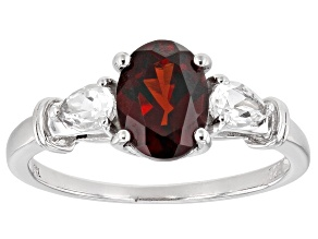 Red garnet rhodium over sterling silver ring 1.52ctw