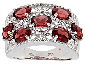 Red garnet rhodium over sterling silver ring 3.02ctw