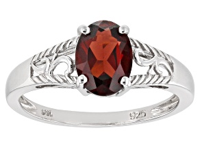 Red garnet rhodium over sterling silver ring 1.22ct