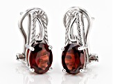 Red garnet rhodium over sterling silver earrings 2.43ctw
